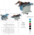 Electrically examining table for gynecology, colposcopy, urology